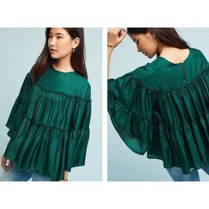 Anthropologie Ne Quittez Pas green silk blouse